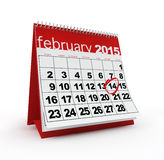 February 2015 calendar. February 14th marked on 2015 monthly calendar Royalty Free Stock Images