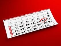 February 2015 calendar. February 14th marked on monthly calendar. Torn calendar page on red background Royalty Free Stock Images