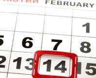 February 14 on the calendar, Valentine's Day. Royalty Free Stock Photo