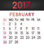 February 2017 calendar vector in a flat style in red tones. Week starts on Sunday Stock Photography