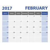 2017 February calendar week starts on Sunday. Stock vector Royalty Free Stock Photo