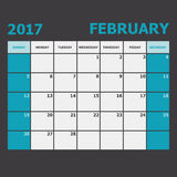 February 2017 calendar week starts on Sunday Royalty Free Stock Photo