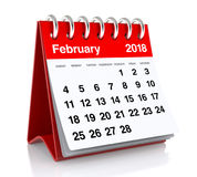 February 2018 Calendar. On White Background. 3D Illustration Royalty Free Stock Images