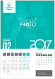 February 2017. Calendar 2017. February 2017. Calendar for 2017 Year. 2 Months on Page. Vector Design. Template with Place for Photo and Company Logo Stock Images