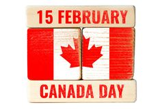 15 february, canada day. 15 february canada day, message on wooden blocks royalty free stock photography