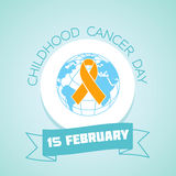 15 February Childhood Cancer Day. Calendar for each day on February 15. Greeting card. Holiday - Childhood Cancer Day. Icon in the linear style Stock Illustration