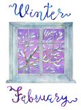 February concept. Window and winter tree in snow against violet texture background Royalty Free Stock Photo