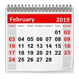 February 2019 royalty free illustration