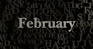February - 3D rendered metallic typeset headline illustration Royalty Free Stock Images