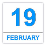 February 19. Day on the calendar. Stock Image