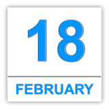February 18. Day on the calendar. Royalty Free Stock Photography