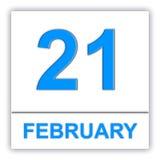February 21. Day on the calendar. 3D illustration Stock Image