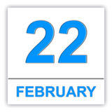 February 22. Day on the calendar. Royalty Free Stock Images