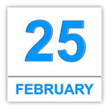 February 25. Day on the calendar. Royalty Free Stock Photography