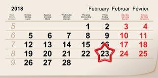 February 23 day of defender fatherland. Red star calendar reminder. Vector illustration Stock Image