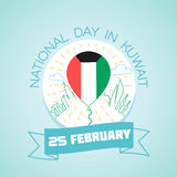25 February Day in Kuwait. Calendar for each day on February 25. Greeting card. Holiday - Day in Kuwait. Icon in the linear style Stock Photos