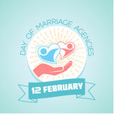 12 February  Day of Marriage Agencies. February 12. Greeting card. Holiday - Day of Marriage Agencies. Icon in the linear style Royalty Free Stock Photos