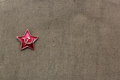 February 23. Defender of the Fatherland Day. A red star on military background. May 9 Victory Day. Father`s day.  stock photography