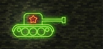 February 23. Defenders of Fatherland Day. Tank Neon sign and gre. En brick wall. Realistic sign. National Military holiday in Russia. Template for postcard Royalty Free Stock Image