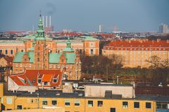 February 18, 2019. Denmark Copenhagen. Panoramic top view of the city center from a high point. Round Rundetaarn Tower royalty free stock images