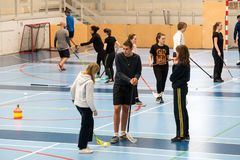 February 21, 2019. Denmark. Copenhagen. Team game with stick and ball Floorball or hockey in hall. Inside training in the gym of royalty free stock images