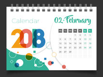 February 2018. Desk Calendar 2018. Template design, Set 02 of 12 stock illustration