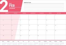 February 2019 desk calendar vector illustration. Simple and clean design Stock Photos