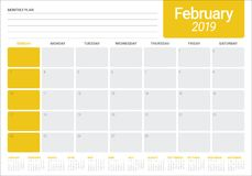 February 2019 desk calendar vector illustration. Simple and clean design Royalty Free Stock Photo