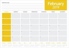 February 2019 desk calendar vector illustration. Simple and clean design Royalty Free Illustration
