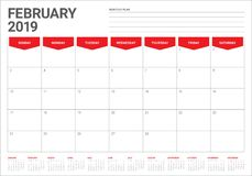February 2019 desk calendar vector illustration. Simple and clean design Stock Photography