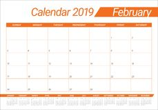 February 2019 desk calendar vector illustration. Simple and clean design stock illustration