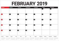 February 2019 desk calendar vector illustration. Simple and clean design Stock Illustration