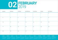 February 2019 desk calendar vector illustration. Simple and clean design Stock Image