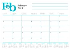 February 2019 desk calendar vector illustration. Simple and clean design Royalty Free Stock Images