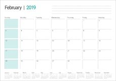 February 2019 desk calendar vector illustration. Simple and clean design royalty free illustration