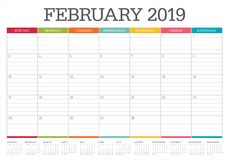 February 2019 desk calendar vector illustration, simple and clean design.  royalty free illustration