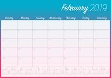 February 2019 desk calendar vector illustration, simple and clean design vector illustration