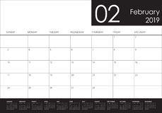 February 2019 desk calendar vector illustration. Simple and clean design Stock Photo