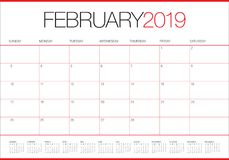 February 2019 desk calendar vector illustration. Simple and clean design Vector Illustration