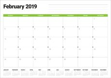 February 2019 desk calendar vector illustration. Simple and clean design Royalty Free Stock Photos
