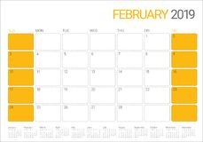 February 2019 desk calendar vector illustration. Simple and clean design Royalty Free Stock Image