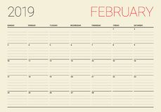 February 2019 desk calendar vector illustration. Simple and clean design Royalty Free Stock Photography