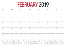 February 2019 desk calendar vector illustration, simple and clean design.  stock illustration