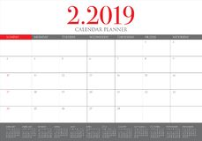 February 2019 desk calendar vector illustration, simple and clean design.  vector illustration