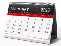 February 2017 desktop calendar. 3D illustration Stock Photo