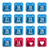 February  flat calendar icons with long Royalty Free Stock Photo