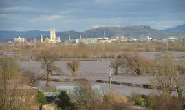 February 2014 floods in Gloucestershire. The landscape at the flooding in February 2014 in Gloucestershire, UK Royalty Free Stock Photography