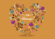 14 February. Floral Heart Royalty Free Stock Image