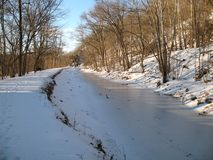 February Freeze. Photo of the C&O canal at Great Falls National Park on the Maryland side during February.  On a winter weekday this national park is lonely and Royalty Free Stock Images