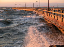 February Gale on the Chespeake Bay. Photo of February gale battering a fishing pier on the Chesapeake Bay in the state of Maryland Stock Image
